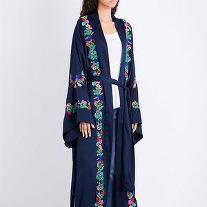 Free people embroidered maxi robe/kimono